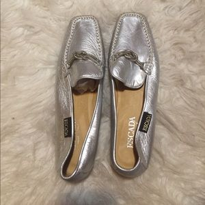 Silver Escada Loafers in Great Condition